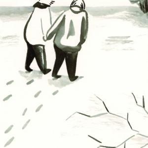Eerste kust van Noel Callebaut. Tekening door Leslie Saurus: http://lesliesaurusland.blogspot.be/